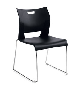 Global Duet Armless Guest Chair in Asphalt Night (BLK)