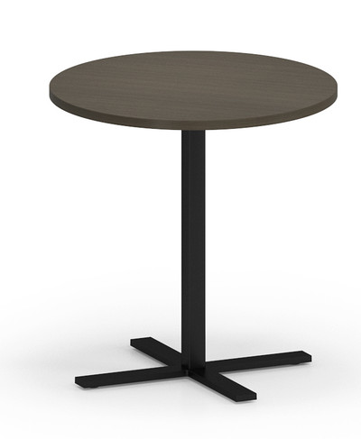 """Avon Round Cafe Table 30"""" Tall with Walnut laminate top and edgeband, black base"""