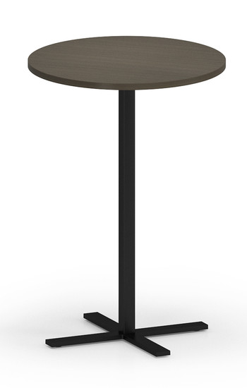"""Avon Round Cafe Table 42"""" Tall with Walnut laminate and black base"""