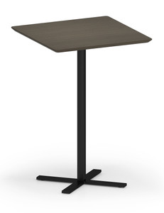 "Avon Square Cafe Table 42"" Tall with Walnut laminate and black base"