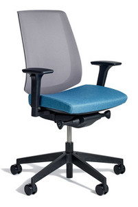 k.™ task by Knoll, Turquoise seat and Grey mesh back, front