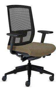 Mayline Gist Mesh Back Task Chair in Expo Latte Fabric and Black Mesh