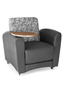 Interplay Lounge Chair with Tablet, black polyurethane and Nickel fabric back