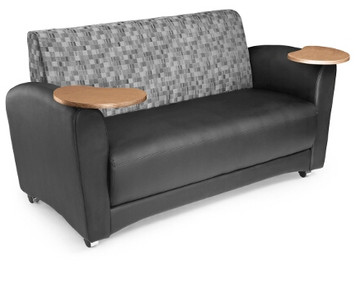 Interplay Sofa with Tablet, Black Polyurethane with Nickel Fabric back