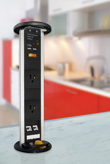 Two Plug Pop-Up Power Bar, popped up on countertop