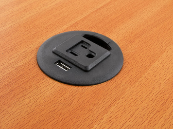 Grommet Charge Port, 1 USB port, 1 electric outlet