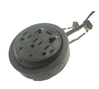 Round Surface Power Module 3 electrical outlets and 2 ethernet ports