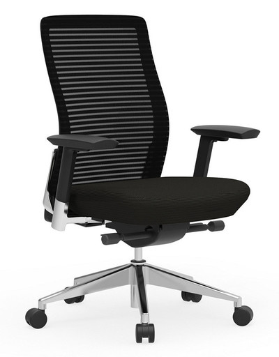 Eon Mid-Back Task with black frame with matching black mesh, seat and arm pads