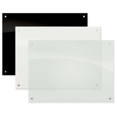 Enlighten Non-Magnetic Glass Dry Erase Whiteboard, Opaque White, Frosted Pearl, Black