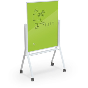 Visionary® Curve Magnetic Glass Dry Erase Board, Lime Green