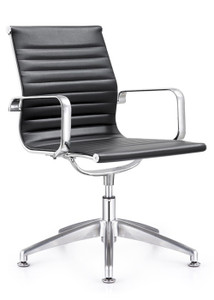 Joplin Mid Back Side Chair, black eco-leather