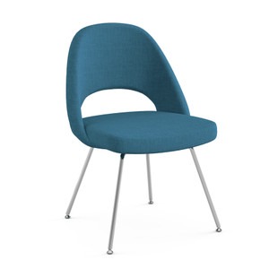KnollStudio Saarinen Executive Armless Chair, Chrome legs and Classic Boucle Aegean