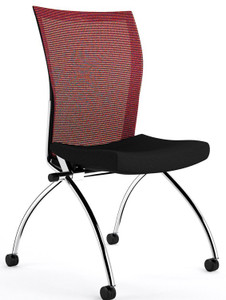Mayline Valoré Training High-Back Nesting Chair in red mesh