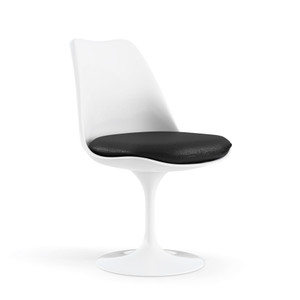 KnollStudio Saarinen Armless Tulip Chair, white base and Ultrasuede Black Onyx cushion