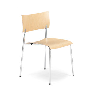 KnollStudio CHIP Armless Stacking Chair, Birch