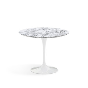 "Eero Saarinen Round Dining Table, 35"" Arabescato Satin marble"