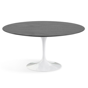 "Eero Saarinen Round Dining Table, 60"" Ebonized Walnut Veneer on white base"