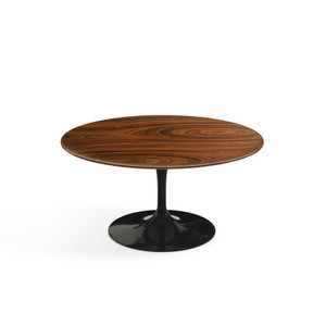 "Eero Saarinen Round Coffee Table, 35"" Rosewood Veneer with black base"