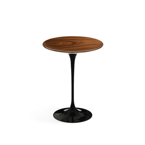 "Eero Saarinen Round Side Table 16"", Rosewood Veneer with black base"