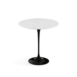 "KnollStudio Eero Saarinen Round Side Table 20"", White Laminate with black base"