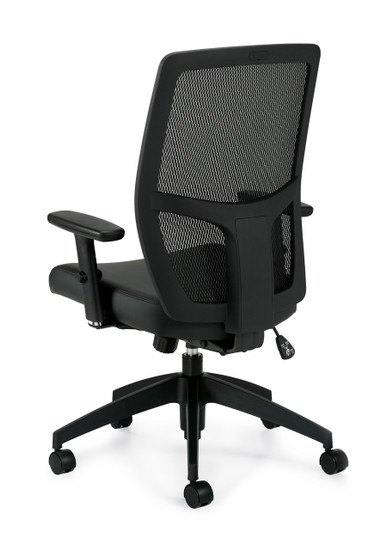 Mesh Back Management Chair with Luxhide Seat  in Black *Ships in 1-2 days!