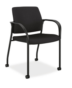 Hon Ignition Multi-Purpose Stacking Chair With Casters in Black fabric