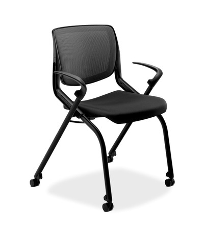 Motivate Mesh Back Nesting Chair, Black frame, Onyx arms and black CU10 seat