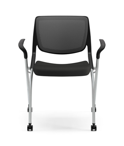 Motivate Mesh Back Nesting Chair, Platinum frame, Onyx arms and black CU10 seat