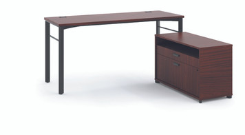 "Manage 60"" Worksurface L-Station with Storage, Chestnut"