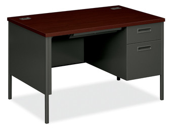 Metro Classic Compact Single Pedestal Desk - Right Handed, in Charcoal and Mahogany