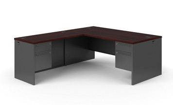 Hon 38000 Series L-Workstation in Charcoal and Mahogany. Return to the left of the user.