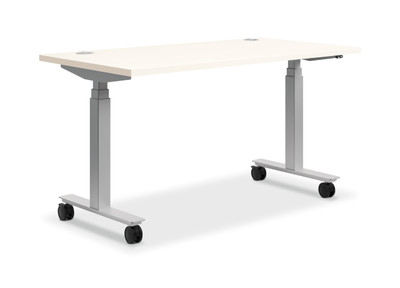"Coordinate Height-Adjustable Desk, 60"" x 30"" White with casters"