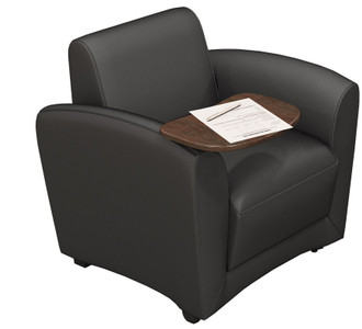 Mayline  Santa Cruz Mobile Lounge Chair in Black Leather with Tablet