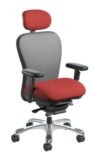 Nightingale CXO Intensive High Back Task Chair, with Silver Mesh Back option, Burgundy seat and chrome base