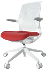 FLYT White Flex Back Task Chair with Cardinal seat