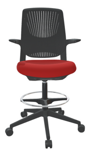 FLYT Black Flex Back Stool with Cardinal seat