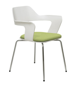 Julep Upholstered Side Stacker with upholstered seat and White back