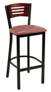 Wood Back Upholstered Cafe Chair, Black Sandex frame and Mahogany back with upholstered seat