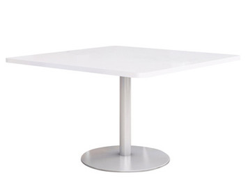 "Fuse Table with 36"" Designer-White Laminate Top and Silver Round base"
