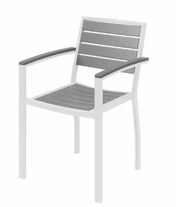 Eveleen Aluminum Frame Guest, Grey Polypropylene seat and back, white frame