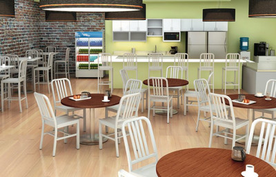 Brushed Aluminum Barstool is perfect for a lunchroom