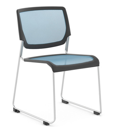 Kimball Poly Stackable Mesh Side Chair, Sky Blue