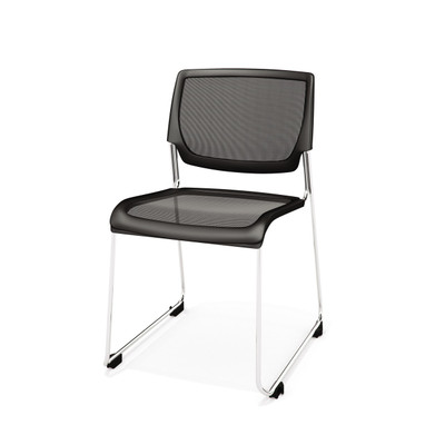 Kimball Poly Stackable Mesh Side Chair, Black Tie