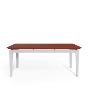 Lenox Steel Frame Coffee Table with Cherry laminate top, silver frame