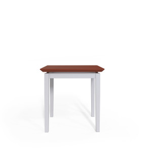 Lenox Steel Frame End Table with Cherry laminate top, silver frame