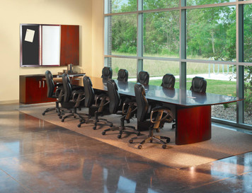 Mayline Napoli Wood Veneer 20' Conference Table in Office Setting With Chairs