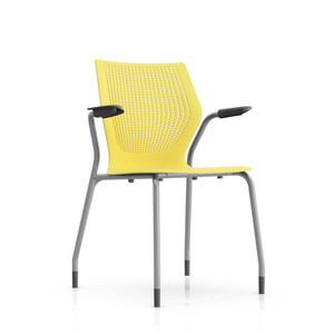 Knoll MultiGeneration Stacking Arm Chair in Yellow (YW) Metallic Gray Frame