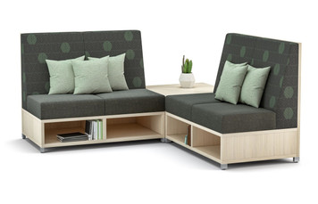 LB Lounge 2 Seater with Leave Likatre Laminate Storage