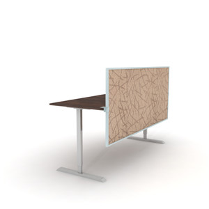 OBEX Desk & Cubicle Mount Acoustical Split Screen Privacy Panels with aluminum frame and Almond fabric