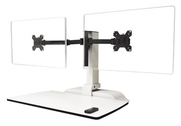 Emerge II Powered Adjustable Desktop, in white with dual monitor arms